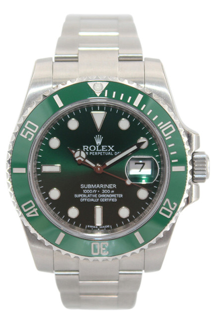 Rolex Oyster Perpetual Submariner Date - 40mm - Stainless Steel - Green Ceramic Bezel - Green Dial - Ref. 116610 (Item# 13492y)