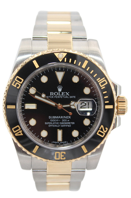Rolex Oyster Perpetual Submariner Date - 40mm - Two Tone - Black Dial - Black Ceramic Bezel - Ref. 116613 (Item# 13418)