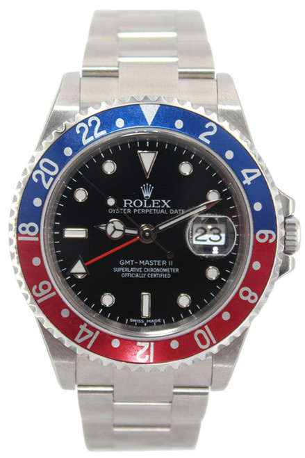 "Rolex Oyster Perpetual GMT-Master II - Rare Black Dial -"" Pepsi"" Blue and Red Bezel - Ref. 16710"