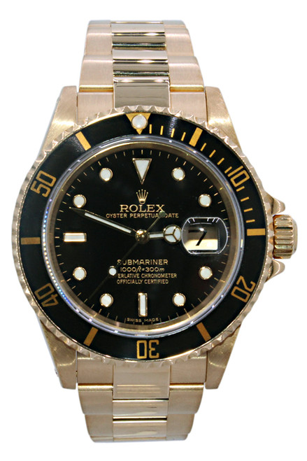 Rolex Oyster Perpetual Submariner Date - 40mm - 18k Yellow Gold - Black Dial - Black Bezel - Ref. 16618