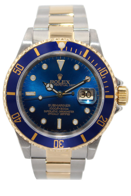Rolex Oyster Perpetual Submariner Date - 40mm - Two Tone - Blue Dial - Blue Bezel - Ref. 16613 (Item # 13410)