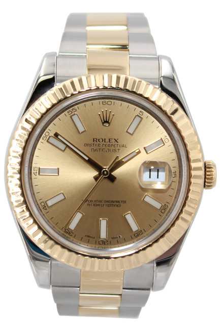 Rolex Oyster Perpetual Datejust II - 41mm - Champagne Stick Dial - Fluted Bezel - Oyster Bracelet - Ref. 116333