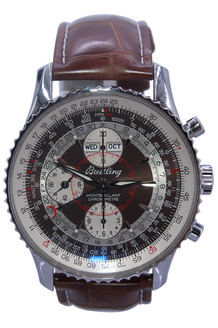 Breitling - Montbrilliant - 43mm - Stainless Steel - Chronograph -Brown and Silver Dial - Automatic - Ref. A21330