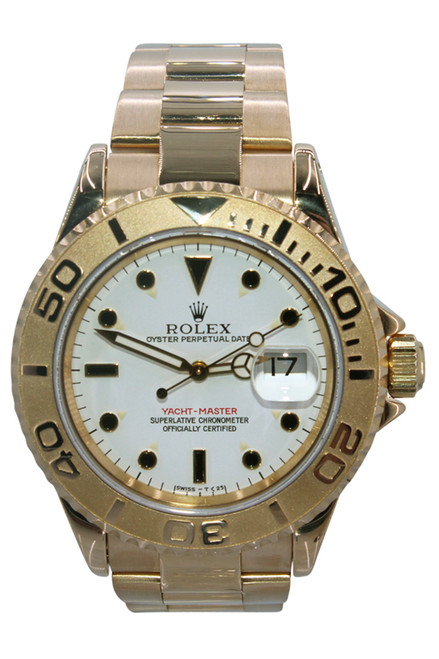 Rolex Oyster Perpetual Yacht-Master - 40mm - 18k Yellow Gold - 18k YG Bezel - White Dial - Oyster Bracelet - Automatic - Ref. 16628