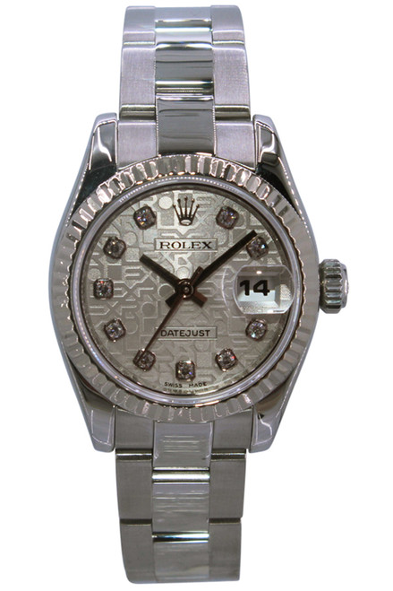 Rolex Oyster Perpetual Lady-Datejust - 26mm - Stainless Steel - Fluted Bezel - Silver Anniversary Diamond Dial - Oyster Bracelet - Ref. 179174