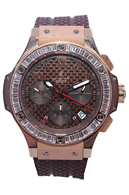 Hublot - Big Bang Cappuccino - 41mm - 18k Rose Gold - Chocolate Carbon Fiber Dial - Diamond Bezel - Automatic - Chronograph - Ref. 341-PC-1007-RX-194