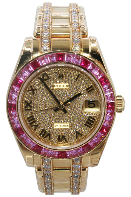 Rolex Oyster Perpetual Datejust Pearlmaster - 34mm - 18k Yellow Gold - Roman Dial with Pave Diamonds - Pink Sapphire Bezel - Double Row Diamond Bracelet - Ref. 81348