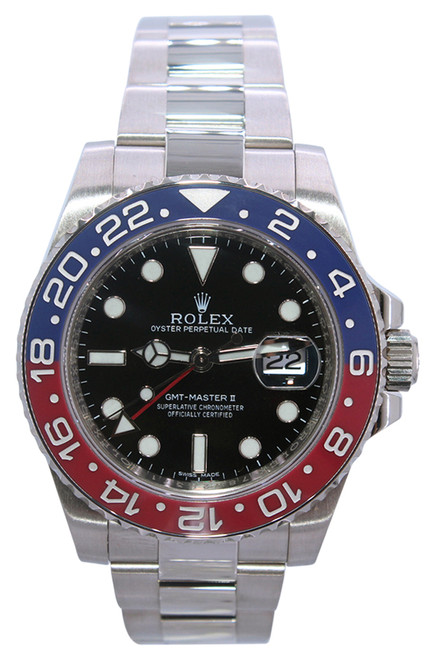 "Rolex Oyster Perpetual GMT-Master II - 40mm - 18k White Gold - ""Pepsi"" Blue and Red Ceramic Bezel - Black Dial - Ref. 116719"