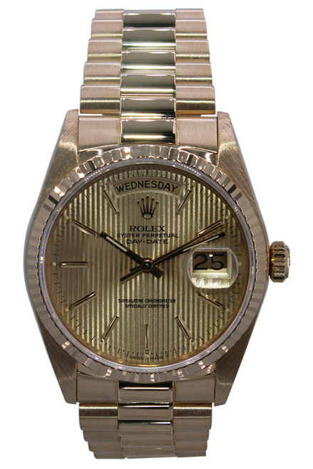 Rolex Oyster Perpetual Day-Date Presidential - 36mm - 18k Yellow Gold - Champagne Tapestry Dial - Fluted Bezel - Ref. 18038
