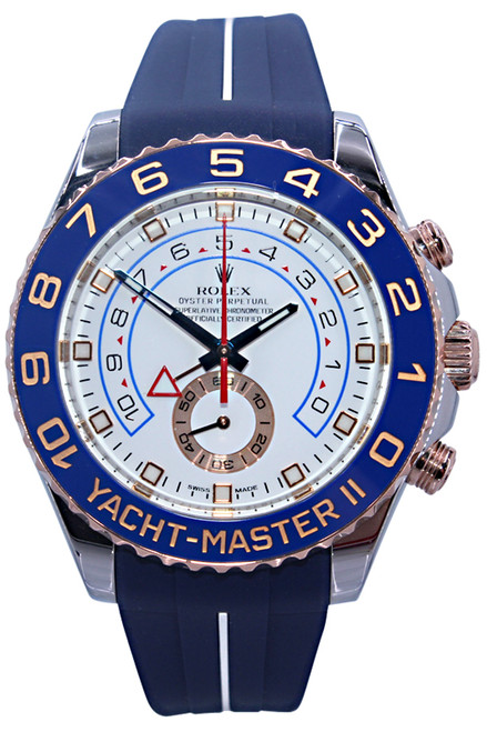 Rolex Oyster Perpetual Yacht-Master II - 44mm - Stainless Steel and Rose Gold - White Dial - Rubber B Strap - Ref. 116681