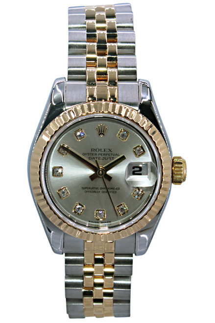 Rolex Oyster Perpetual Lady Datejust - 26mm - Two Tone - Silver Diamond Dial - Fluted Bezel - Ref. 179173