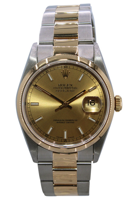 Rolex Oyster Perpetual Datejust - 36mm - Two Tone - Champagne Stick Dial - Smooth Bezel - Oyster Bracelet - Ref. 16233