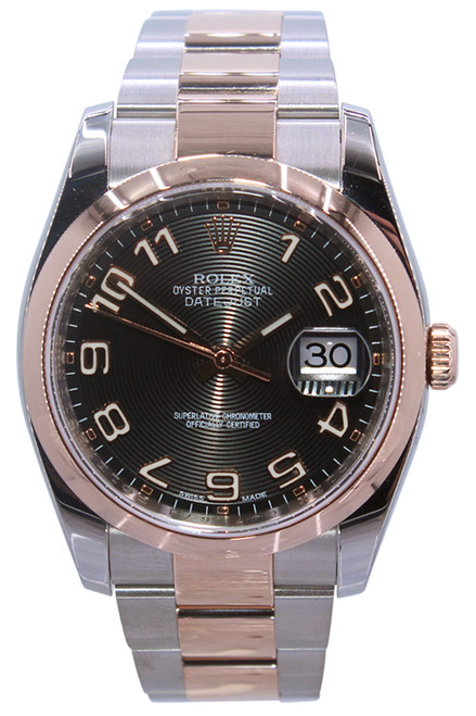Rolex Oyster Perpetual Datejust - 36mm - 18k RG/Stainless Steel - Black  Arabic Dial - Fluted Bezel - Oyster Bracelet - Ref. 116200