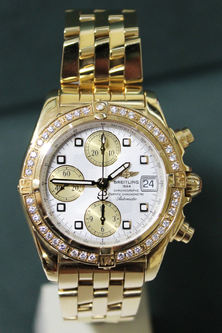 Breitling - Cockpit - 40mm - 18k Yellow Gold - Silver Dial - Diamond Bezel -Chronograph - Automatic - Ref. K13357