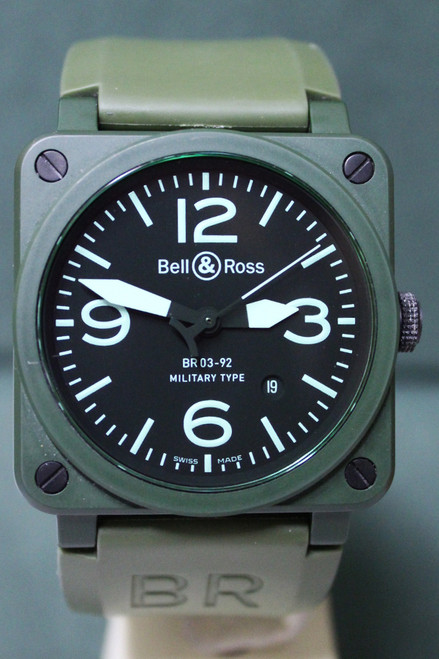 Bell & Ross - 42mm - Olive Ceramic - Black Arabic Dial - Automatic - Olive Rubber Strap