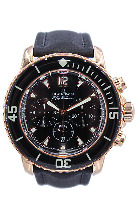 Blancpain - Fifty Fathoms Flyback - 45mm - 18k RG -  Black Dial - Black Bezel - Chronograph - Ref. 5085F-3630-52