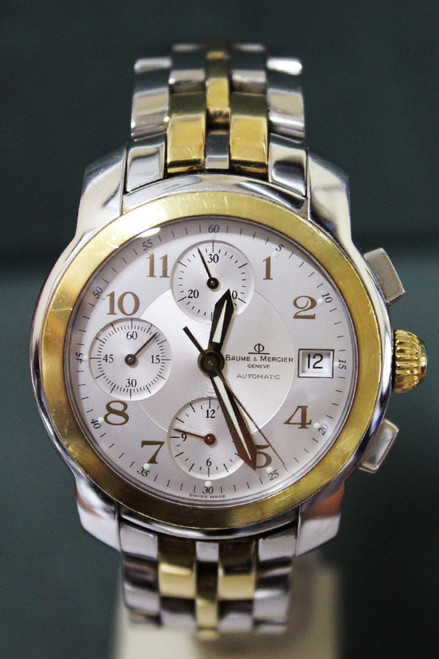 Baume and Mercier Capeland - 38mm - Stainless Steel - 18k Yellow Gold Smooth Bezel - 18k Yellow Gold and Stainless Steel Bracelet - Ref. MV045217W