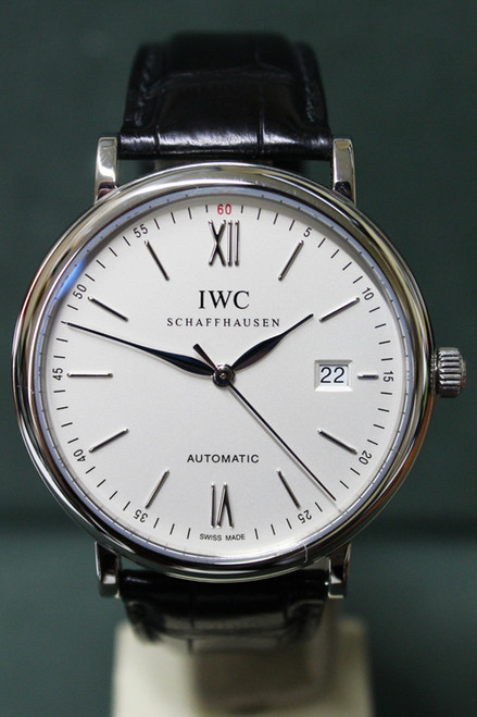 IWC - Portofino Automatic - 40mm - Stainless Steel - White/Silver Stick Dial - Black Alligator Leather Strap - Ref. 3565.01