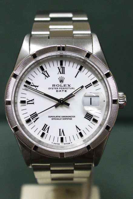 Rolex Oyster Perpetual Date - 34mm - Stainless Steel - Engine Turn Bezel - White Roman Dial - Oyster Bracelet - Ref. 15210