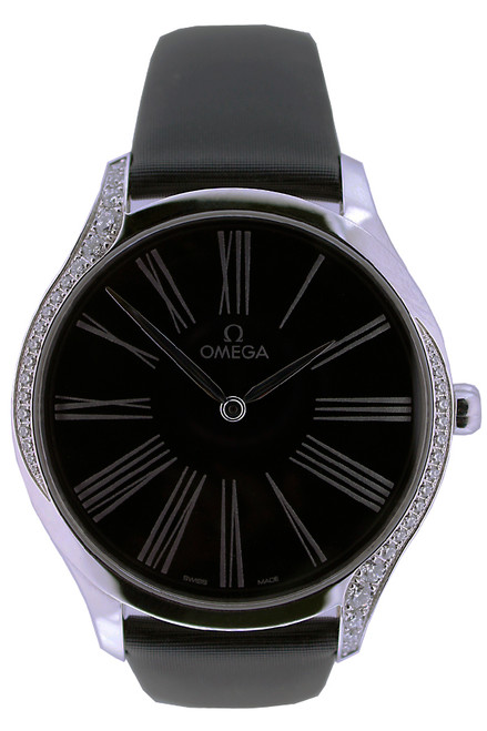 Omega DeVille Tresor Quartz - 39mm - Stainless Steel With Diamonds - Black Roman Dial - Black Strap - Ref. 42817396001001