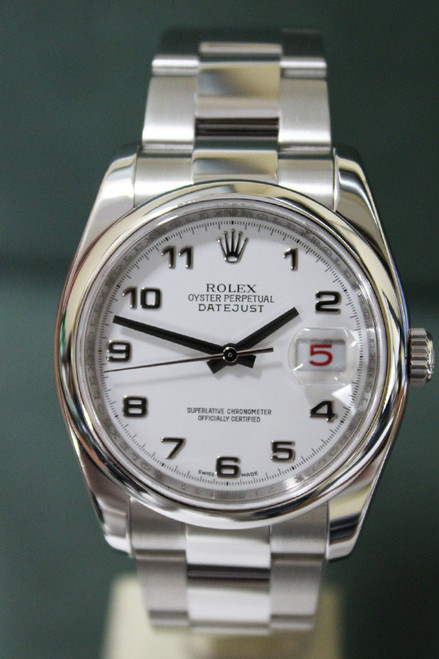Rolex Oyster Perpetual Datejust - 36mm - Stainless Steel - Smooth Bezel - White Arabic Dial - Oyster Bracelet - Ref. 116200