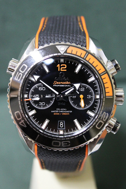 Omega Seamaster Planet Ocean Chronograph Automatic - 45.5mm - Stainless Steel - Unidirectional Rotatable Bezel - Black Dial - Rubber Strap - Ref. 21532465101001