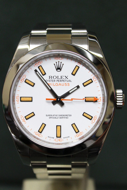 Rolex Oyster Perpetual Milgauss - 40mm - Stainless Steel - Dome Bezel - White Index Dial - Oyster Bracelet - Ref. 116400