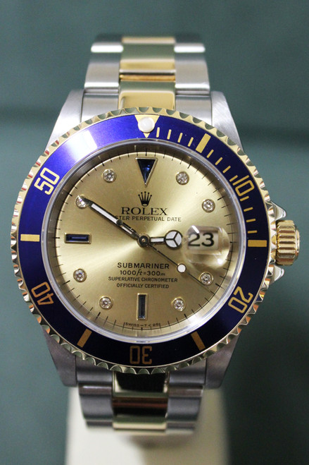 Rolex Oyster Perpetual Submariner - 40mm - Two-Tone - Yellow Gold Unidirectional Rotatable Bezel With Blue Insert - Champagne Diamond Dial - Two-Tone Stainless Steel and Yellow Gold Oyster Bracelet - Ref. 16613