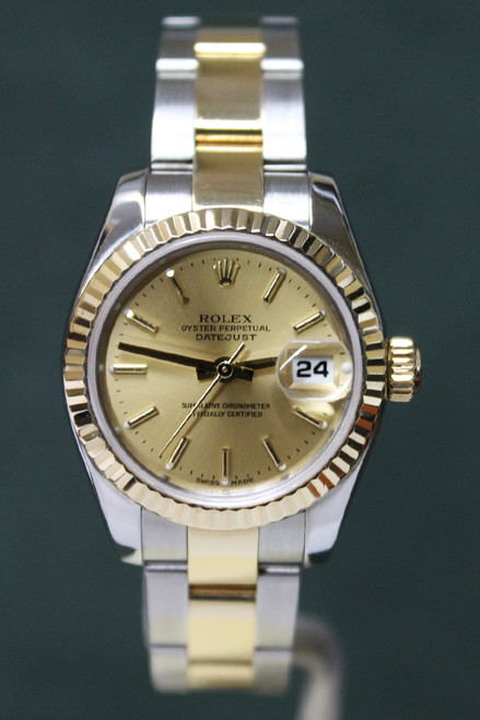 Rolex Oyster Perpetual Ladies Datejust - 26mm - Stainless Steel - Yellow Gold Fluted Bezel - Champagne Stick Dial - Two-Tone Stainless Steel And Yellow Gold Oyster Bracelet - Ref. 179173