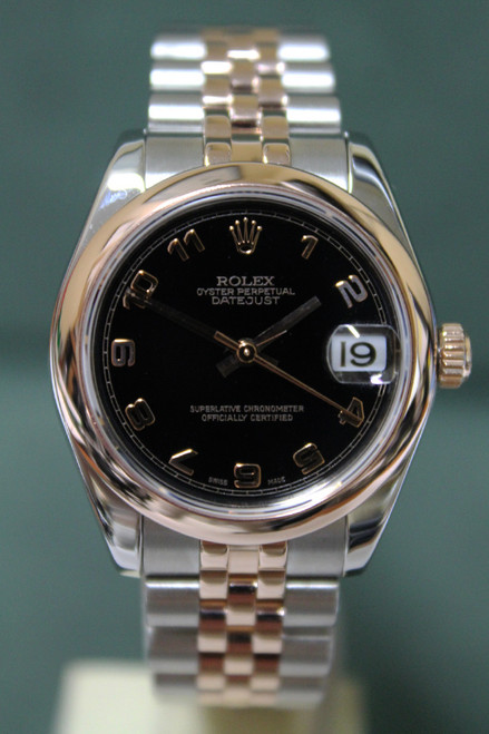 Rolex Oyster Perpetual Ladies Datejust - 31mm - Stainless Steel - Rose Gold Smooth Bezel - Black Arabic Dial - Two-Tone Stainless Steel And Rose Gold Jubilee Bracelet - Ref. 178271