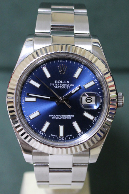 Rolex Oyster Perpetual Datejust II - 41mm - Stainless Steel - Fluted Bezel - Blue Index Dial - Oyster Bracelet - Ref. 116354