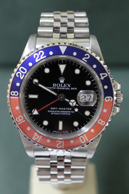 "Rolex Oyster Perpetual GMT-Master ""Pepsi"" - 40mm - Stainless Steel - Bidirectional Rotatable Bezel With Blue And Red Insert - Black Dial - Jubilee Bracelet - Ref. 16700"