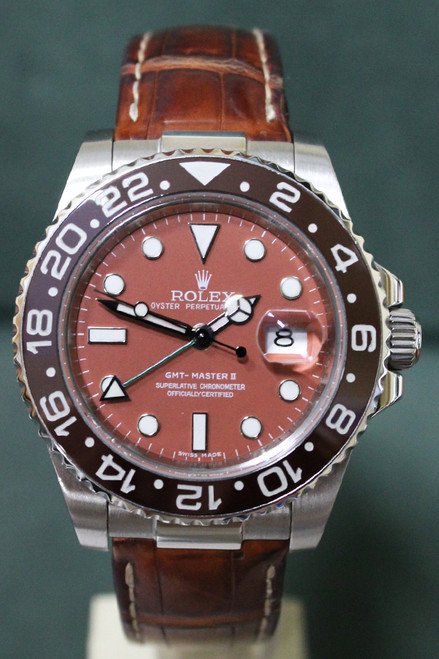 Rolex Oyster Perpetual Ceramic GMT-Master II - 40mm - Stainless Steel - Unidirectional Rotatable Bezel With 24hr Brown Insert - Salmon Dial - Brown Leather Rubber B Strap - Ref. 116710LN