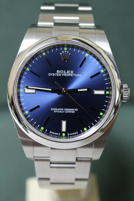 Rolex Oyster Perpetual No Date - 39mm - Stainless Steel - Smooth Bezel - Blue Stick Dial - Oyster Bracelet - Ref. 114300