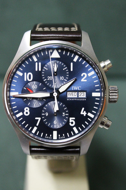 IWC Le Petit Prince Pilot Chronograph - 43mm - Stainless Steel - Midnight Blue Dial - Brown Santoni Calfskin Strap - Ref. IW377714