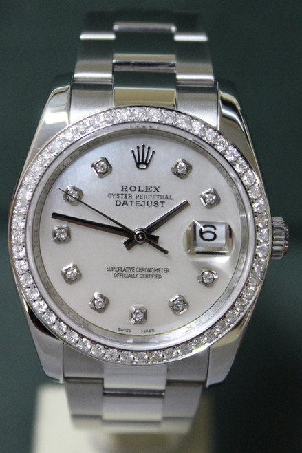 Rolex Oyster Perpetual Datejust - 36mm - Stainless Steel - Diamond Bezel - Mother Of Pearl Diamond Dial - Oyster Bracelet - Ref.116234
