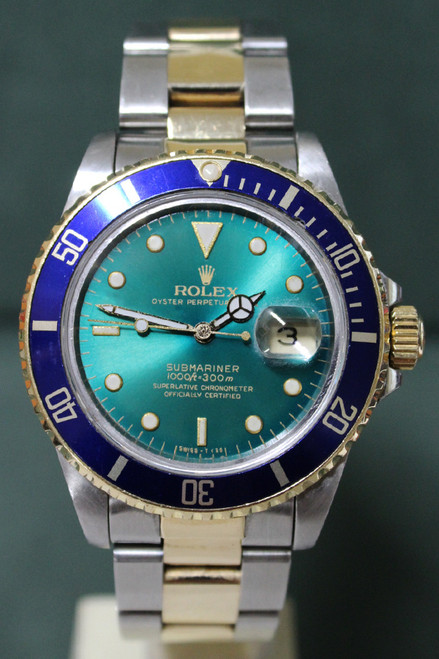 Rolex Oyster Perpetual Submariner - 40mm - Two-Tone - Yellow Gold Unidirectional Rotatable Bezel With Blue Insert - Tropical Dial - Two-Tone Stainless Steel And Yellow Gold Oyster Bracelet - Ref. 16613