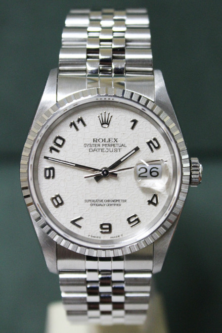 Rolex Oyster Perpetual Datejust - 36mm - Stainless Steel - Engine Turn Bezel - Off White Anniversary Arabic Dial - Jubilee Bracelet - Ref. 16220