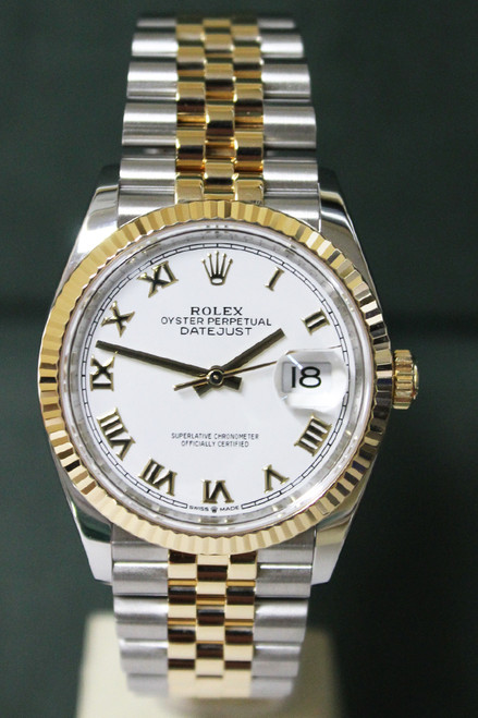Rolex Oyster Perpetual Datejust - 36mm - Two-Tone - Yellow Gold Fluted Bezel - White Roman Dial - Two-Tone Stainless Steel And Yellow Gold Jubilee Bracelet - Ref. 12633