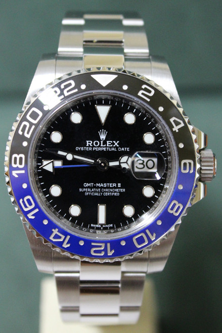 "Rolex Oyster Perpetual Ceramic GMT-Master II ""Batman"" - 40mm - Stainless Steel - Bidirectional Rotatable Bezel With Black And Blue Insert - Black Dial - Oyster Bracelet - Ref. 116710BLNR"