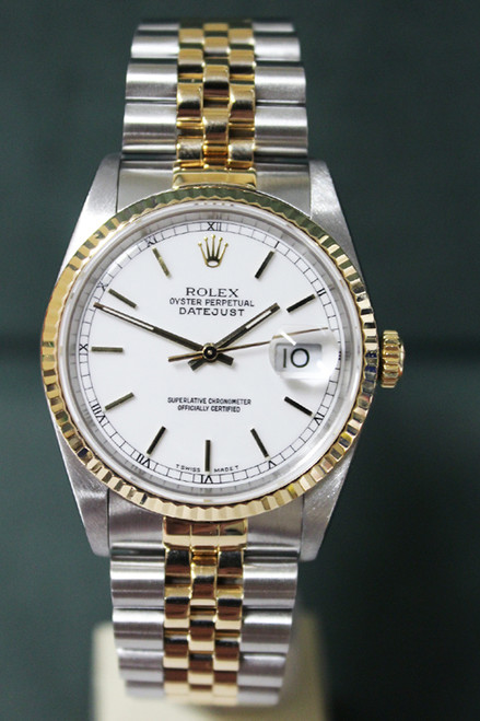 Rolex Oyster Perpetual Datejust - 36mm - Two-Tone - Yellow Gold Fluted Bezel - White Stick Dial - Two-Tone Stainless Steel And Yellow Gold Jubilee Bracelet - Ref. 16233