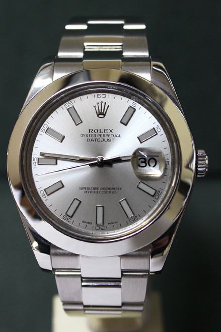 Rolex Oyster Perpetual Datejust II - 41mm - Stainless Steel - Smooth Bezel - Silver Index Dial - Oyster Bracelet - Ref. 116300