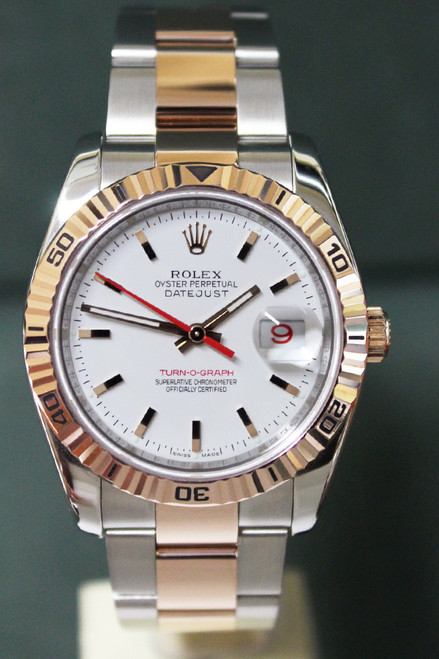 Rolex Oyster Perpetual Datejust Turn-O-Graph - 36mm - Two-Tone - Rose Gold Bidirectional Rotatable Turnograph Bezel - White Stick Dial - Two-Tone Stainless Steel And Rose Gold Oyster Bracelet - Ref. 116261