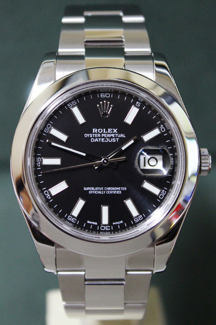 Rolex Oyster Perpetual Datejust II - 41mm - Stainless Steel - Smooth Bezel - Black Index Dial - Oyster Bracelet - Ref. 116300