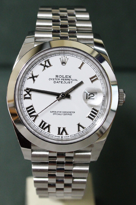 Rolex Oyster Perpetual Datejust 41 - 41mm - Stainless Steel - Smooth Bezel - White Roman Dial - Jubilee Bracelet - Ref. 126300