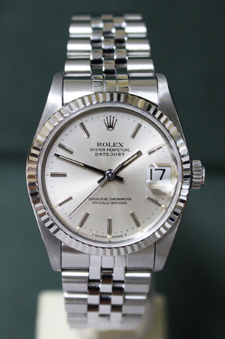 Rolex Oyster Perpetual Mid-Size Datejust - 31mm - Stainless Steel - Fluted Bezel - Silver Stick Dial - Jubilee Bracelet - Ref. 68274