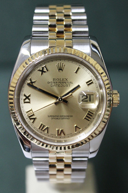 Rolex Oyster Perpetual Datejust - 36mm - Two-Tone - Yellow Gold Fluted Bezel - Champagne Roman Dial - Two-Tone Stainless Steel And Yellow Gold Jubilee Bracelet - Ref. 116233