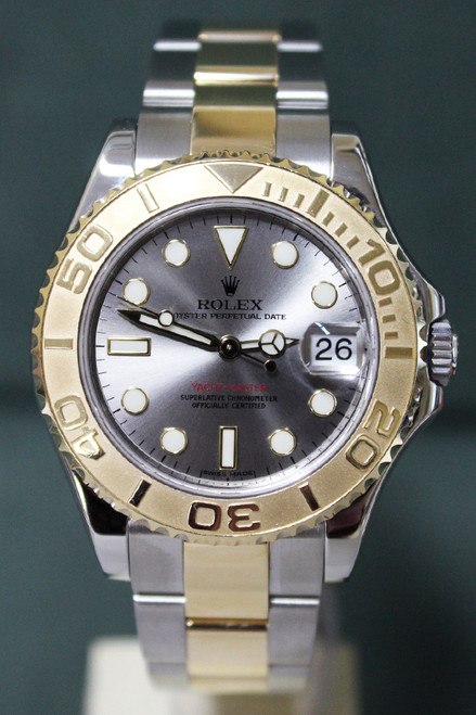 Rolex Oyster Perpetual Mid-Size Yacht-Master - 35mm - Two-Tone - Yellow Gold Unidirectional Rotatable Bezel - Silver Dial - Two-Tone Stainless Steel And Yellow Gold Oyster Bracelet - Ref. 168623