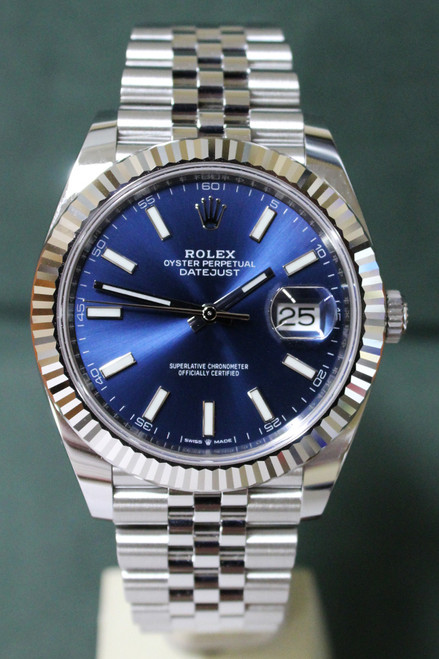 Rolex Oyster Perpetual Datejust 41 - 41mm - Stainless Steel - Fluted Bezel - Blue Index Dial - Stainless Steel Jubilee Bracelet - Ref. 126334