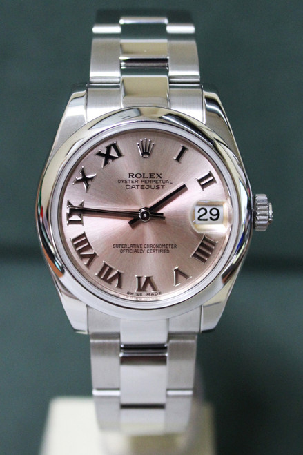 Rolex Oyster Perpetual Mid-Size Datejust - 31mm - Stainless Steel - Smooth Bezel - Rose Roman Dial - Oyster Bracelet - Ref. 178240